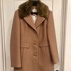 Kate Spade Wool Coat with Detachable Fur Collar